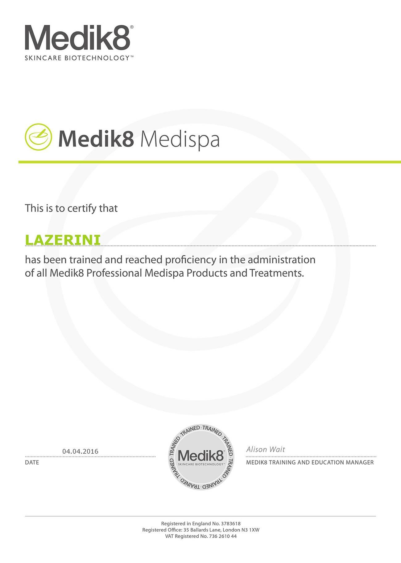 Сертификат medik8